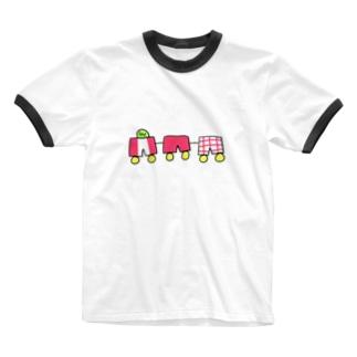 きみどりちゃんパンツでんしゃ Ringer T-shirts