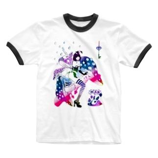 MAD ALICE 電池式キノコの国のアリス バニー型 Ringer T-shirts