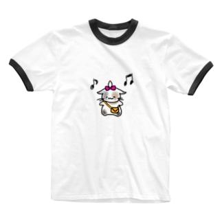 ごきげんねこ Ringer T-shirts
