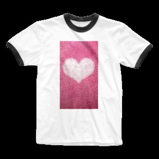 Teatime ティータイムのハート Heart ピンク pink Ringer T-shirts