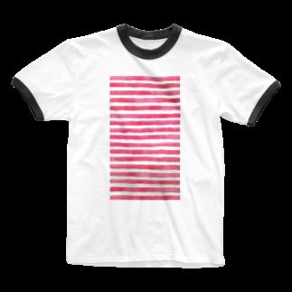 Teatime ティータイムのピンク ストライプ 水彩 絵の具 Ringer T-shirts