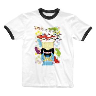 雑巾がけと足跡(リメイク) Ringer T-shirts