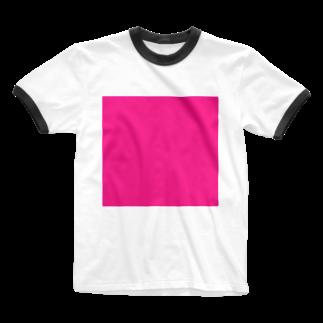 Teatime ティータイムのティータイムピンクブランド ピンクキューブ loveバージョン Ringer T-shirts