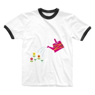 じょうろとお花 Ringer T-shirts