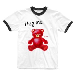 【Hug me】(赤くま) Ringer T-shirts