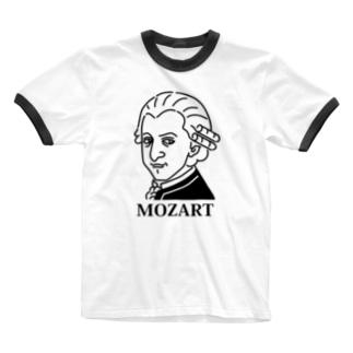 モーツアルト Mozart イラスト 音楽家 偉人アート モーツァルト ストリートファッション Ringer T-shirts