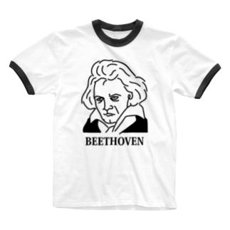 ベートーベン BEETHOVEN イラスト 音楽家 偉人アート ストリートファッション Ringer T-shirts