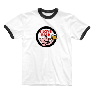 mikepunchのI LOVE BEER Ringer T-shirts