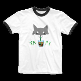 浅木愁太@LINEスタンプ販売中のタピ柴さん(黒柴) Ringer T-shirts