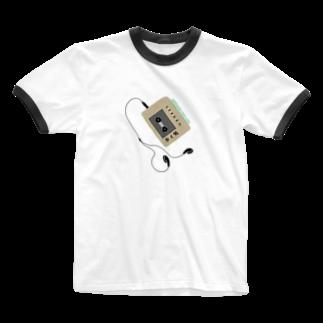 ひよこねこ ショップ 1号店のカセットプレーヤー(歩く男2) Ringer T-shirts