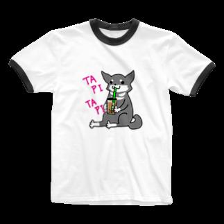 浅木愁太@LINEスタンプ販売中のタピタピ柴さん(黒柴) Ringer T-shirts