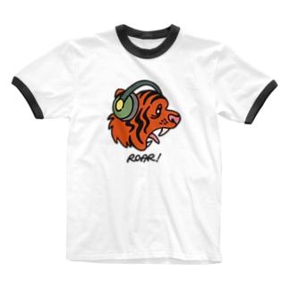 ヘッドホン・タイガー Ringer T-shirts
