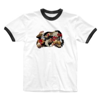 日本の美 葛飾北斎「群鶏」カラー版 Ringer T-shirts