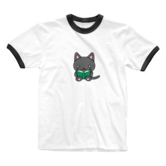 本を読む猫さん Ringer T-shirts