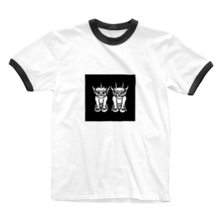 ふたりの子鬼(四角) Ringer T-shirts