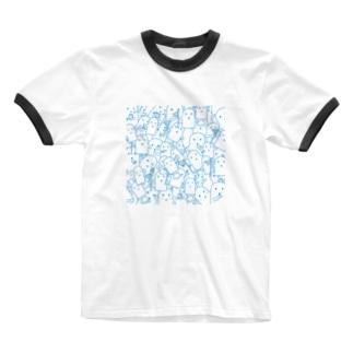 白いハニワ【うじゃうじゃ(青)】 Ringer T-shirts