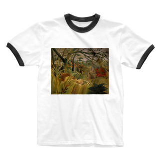 Art Baseの熱帯嵐のなかのトラ / アンリ・ルソー(Tiger in a Tropical Storm(Surprised!)1891) Ringer T-shirts