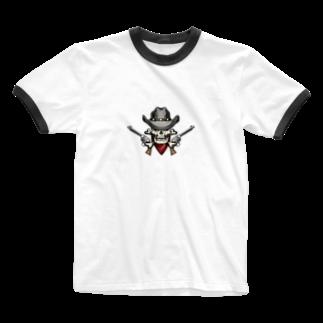 IZANAGIのアンティークなドクロ~ Ringer T-shirts