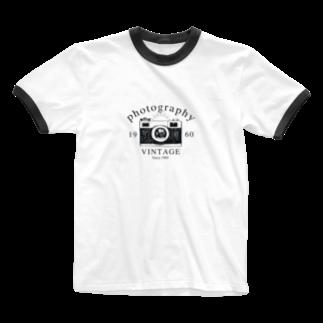 IZANAGIのレトロなカメラあ Ringer T-shirts