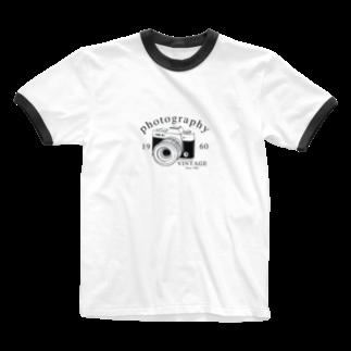 IZANAGIのレトロなカメラ Ringer T-shirts