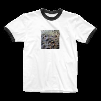 NYANGOROのパクパクコイ鯉 Ringer T-shirts