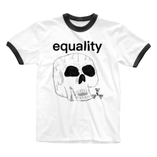 GOD TV MEAT OIL'S brand SUZURI内空中店舗のequality-スカル Ringer T-shirts