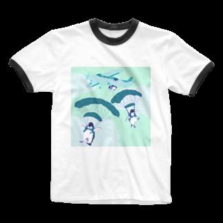 N谷すたじおのペンギンスカイダイバーズ Ringer T-shirts