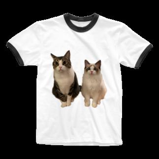 しゃぶしゃぶとぽん酢ฅのしゃぶちとぽん酢ฅ Ringer T-shirts