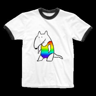 ミラクルユチャンヌのレインボーアリクイ Ringer T-shirts