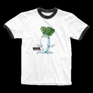 zukkyzukkyのDAIKON Ringer T-shirts