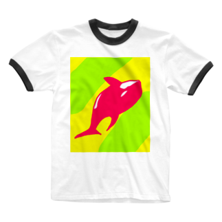 Eatn-kkのKiller whale Ringer T-shirts