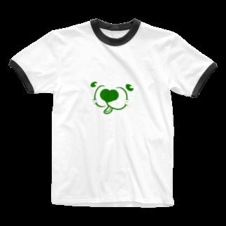 mugioのあの犬/フェイス leaf Ringer T-shirts