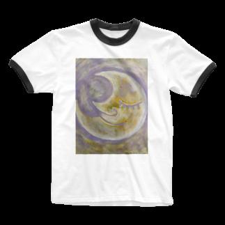 happymoonkobeのhappymoonkobe Purple Ringer T-shirts