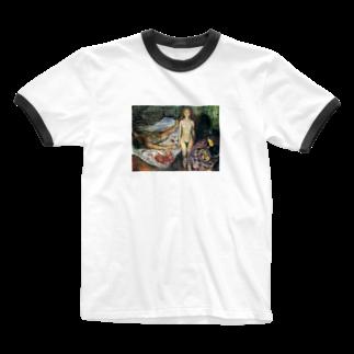 Art Baseのムンク / マラーの死 /Death of Marat I / Edvard Munch /1907 Ringer T-shirts