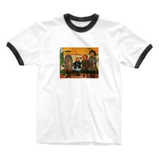 Art Baseのムンク / 1903 / Four girls in Arsgardstrand /Edvard Munch Ringer T-shirts