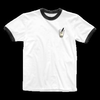 Eatn-kkのタピオカ Ringer T-shirts