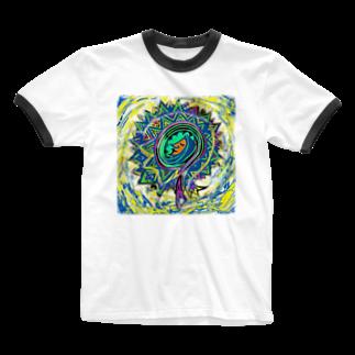 happymoonkobeのうちゅう Ringer T-shirts