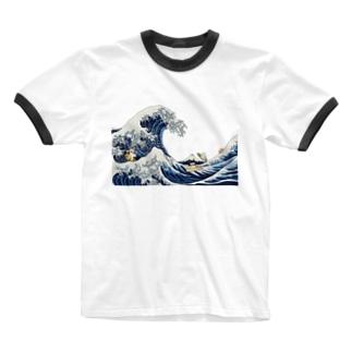 北斎ハス1 Ringer T-shirts
