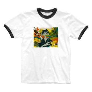 煙たい Ringer T-shirts