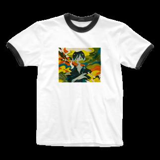 ふみふみ広場の煙たい Ringer T-shirts