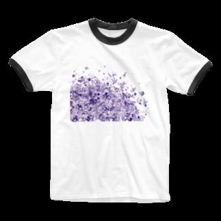 maro's POKER FACE suzuri店のマーブルパープル Ringer T-shirts