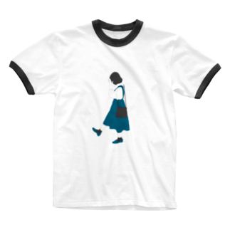 official_initiaの黒髪女の子 Ringer T-shirts