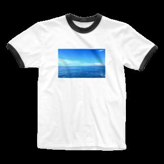 ktctの空と海のスカイブルー Ringer T-shirts
