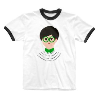 眼鏡メガネ -GLASSES- Ringer T-shirts