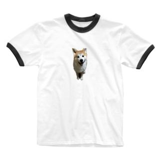 秋田犬ももくん ニコニコver. Ringer T-shirts