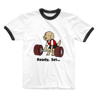 重量挙げ1(前面) Ringer T-shirts