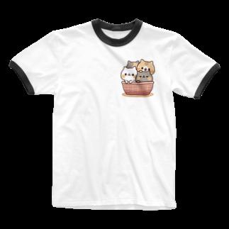 DECORのネコがいっぱい/カゴver. Ringer T-shirts