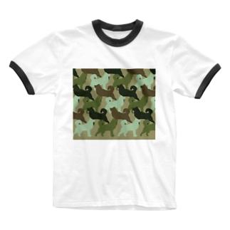 シベリアン ハスキー 迷彩柄 Ringer T-shirts