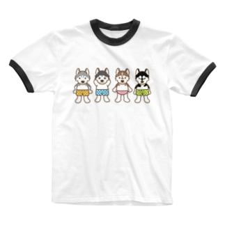 おパンツハスキー Ringer T-shirts
