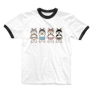 おパンツハスキー2 Ringer T-shirts